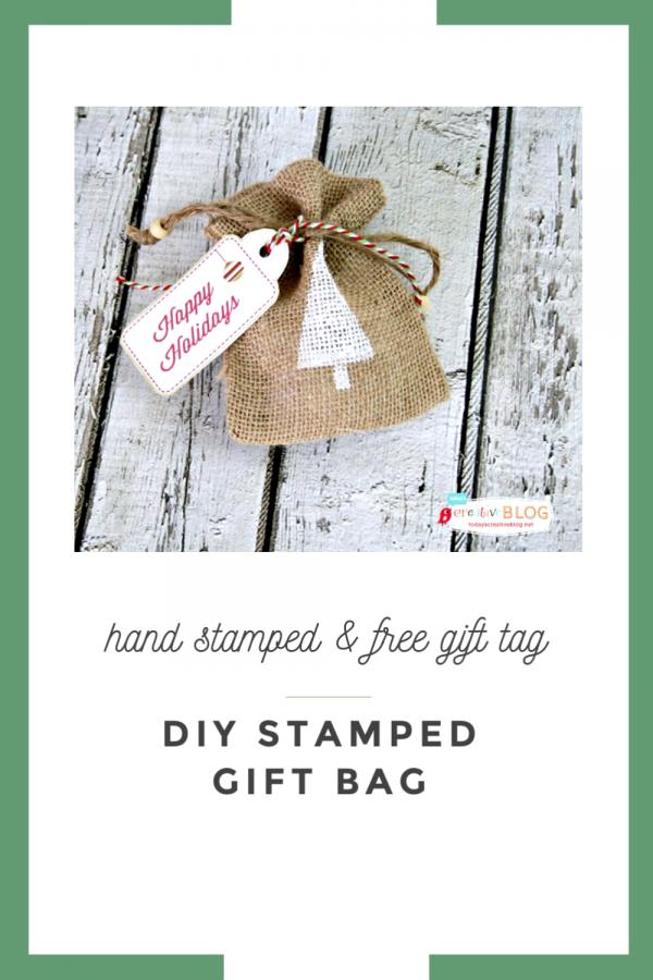 stamped tree on burlap bag