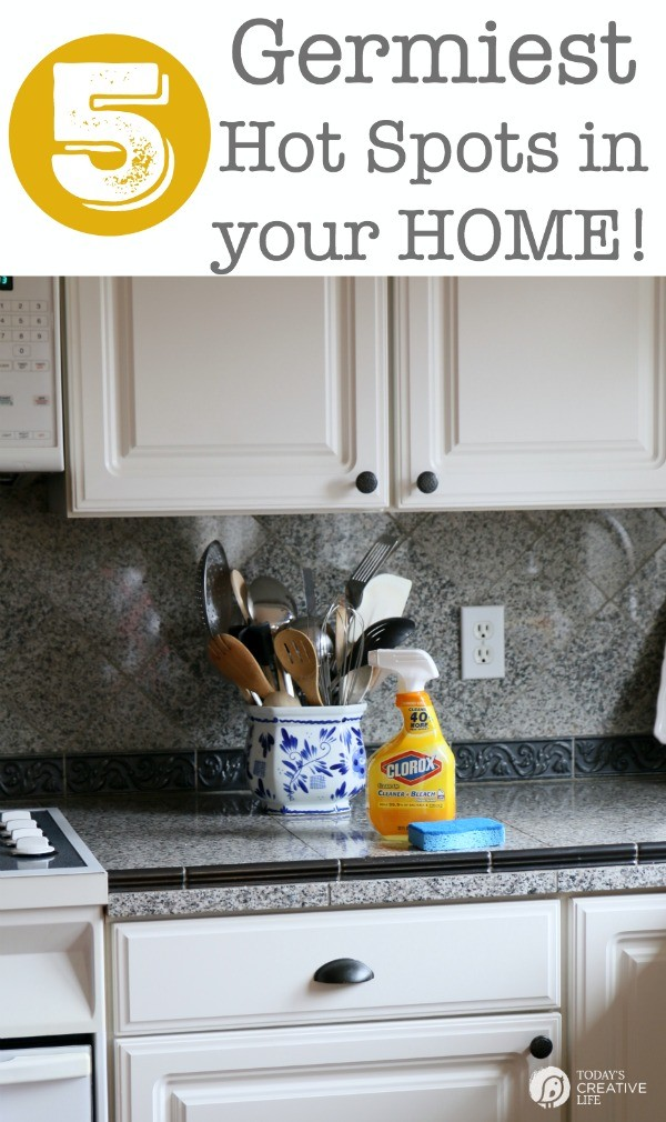 5 Germiest Hot Spots in your Home plus a few more! Find out things you may be missing on your cleaning routine! A recent study found a strain of the flu virus was present on 60% of common household items in homes with just one sick kid? See my full Germ list!