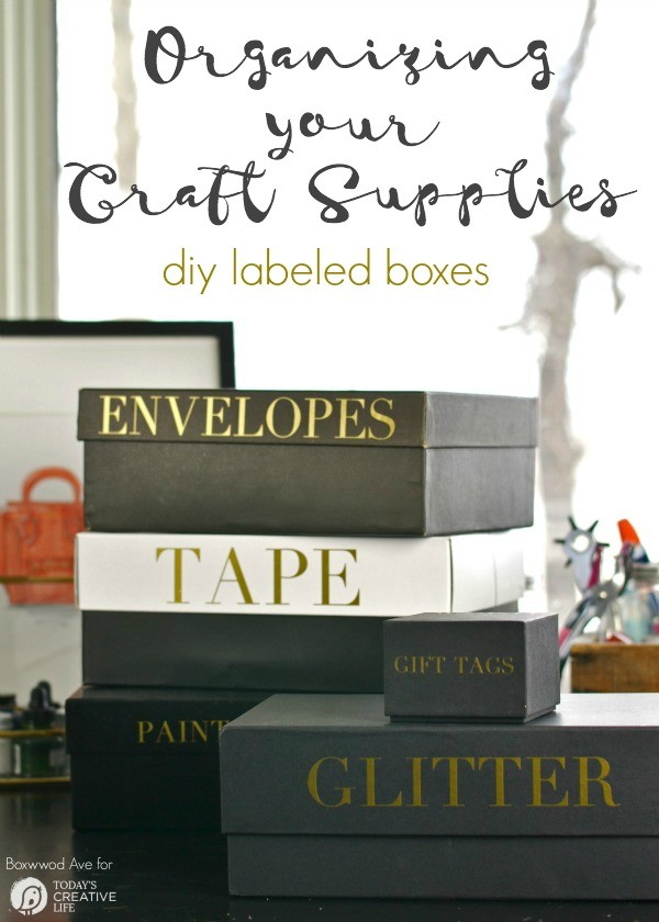 Organizing your Craft Supplies | Create custom storage with the Cricut Explore. Vinyl letters label each box with style. See the tutorial on Today's Creative Life. Just click on the photo.
