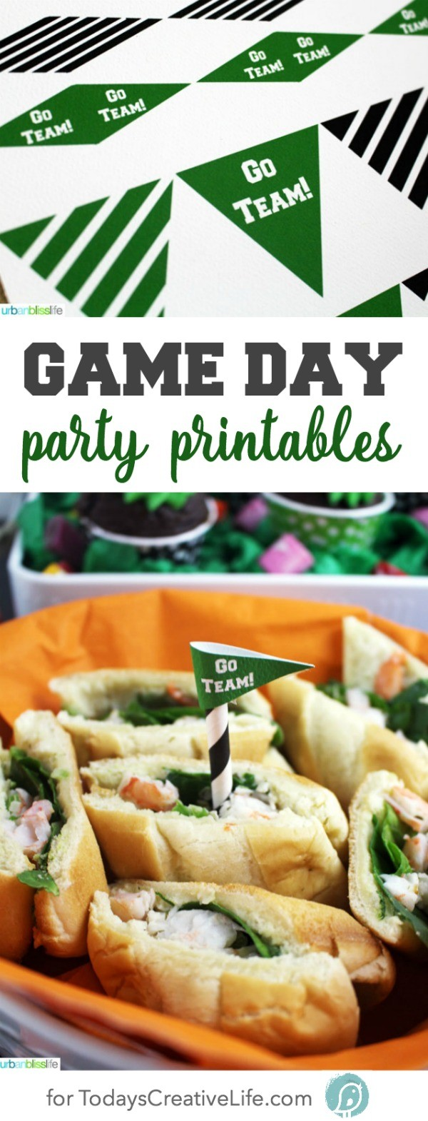Free Game Day Party Printables | Free printables always make any event better! These football printable are great for all season or for super bowl! Designed by UrbanBlissLife for TodaysCreativeLife.com