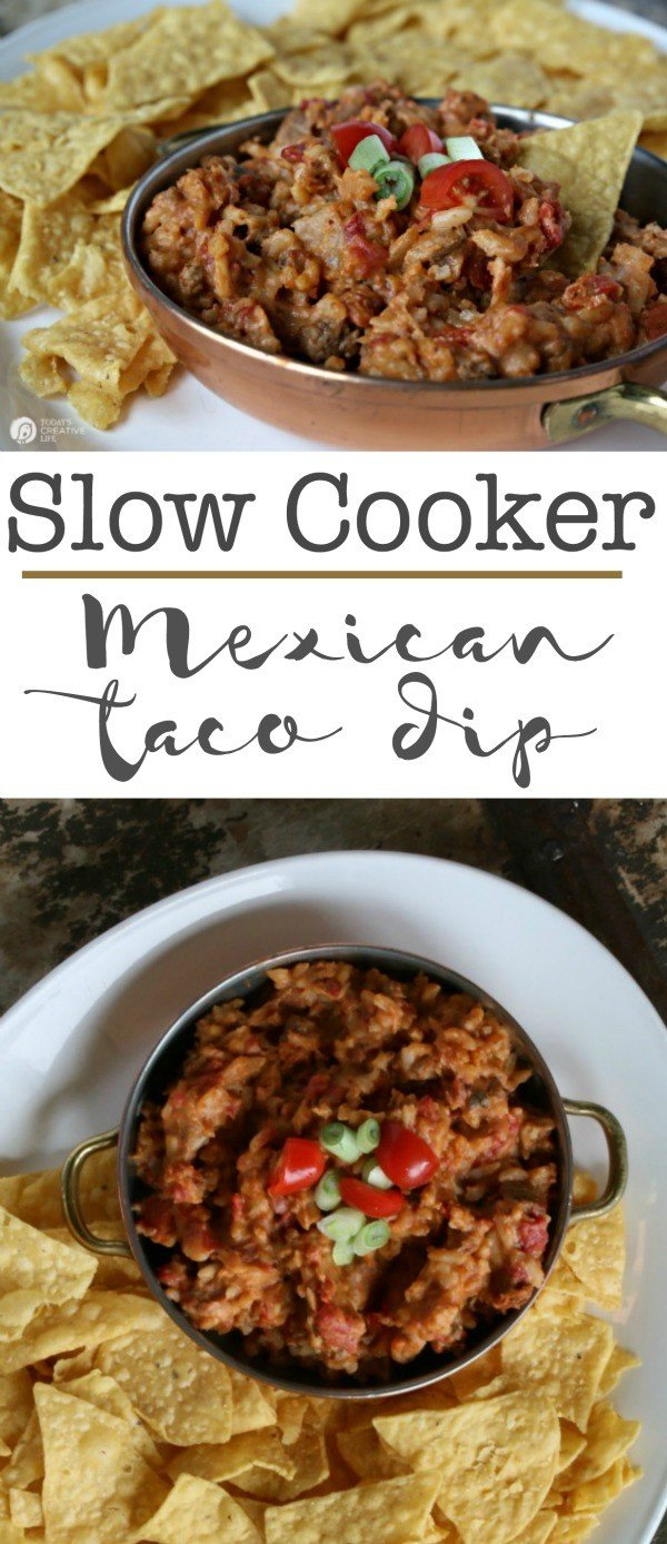 Slow Cooker Mexican Taco Dip | This crock pot dip recipe is great for super bowl, or any game day! Great for potlucks or weekend snacking! Click the photo for the recipe.