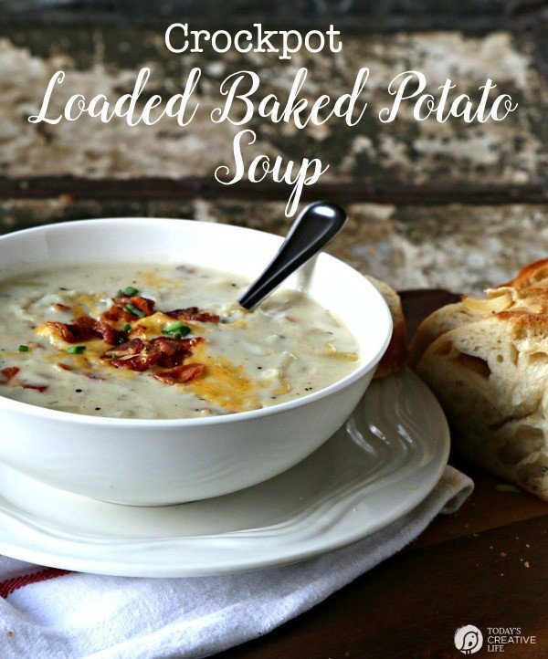 titled photo (and shown): Crock Pot Loaded Baked Potato Soup