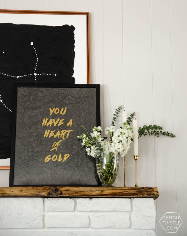 DIY Room Decor { WALL ART } | This Heart Of Gold DIY WALL ART gives your room that hint of gold with minimal effort. Use your Cricut Explore. Find the tutorial on TodaysCreativeLife.com