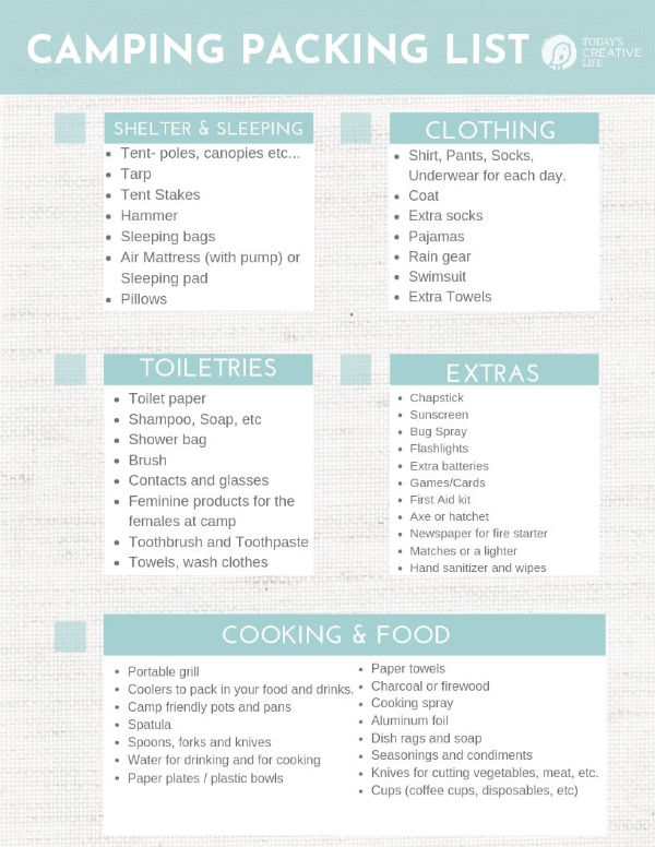 Printable Camping Checklist | Summer Camping Essentials | TodaysCreativeLife.com Subscribe for all the printables for free.