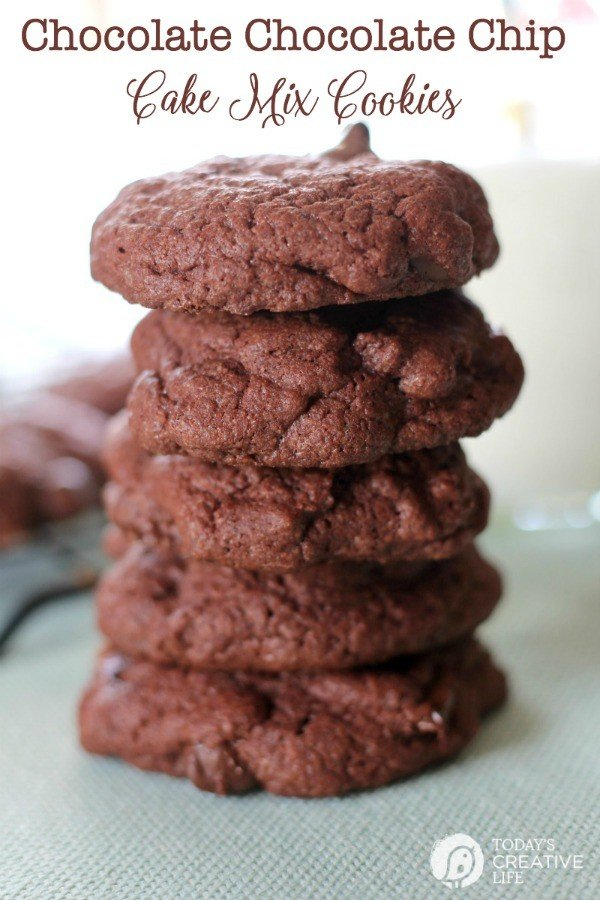 a stack of chocolate cake mix cookies with chocolate chips