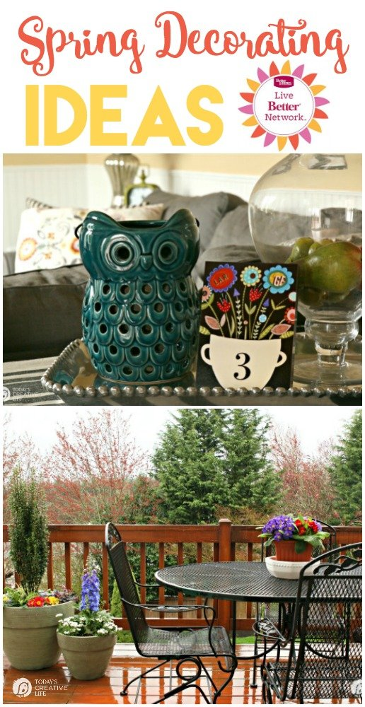Springtime Decorating Ideas| Spruce up your patio or inside your home with these ideas. This is how we do it in the wet spring months in the PNW. Click the photo to see more. TodaysCreativeLife.com