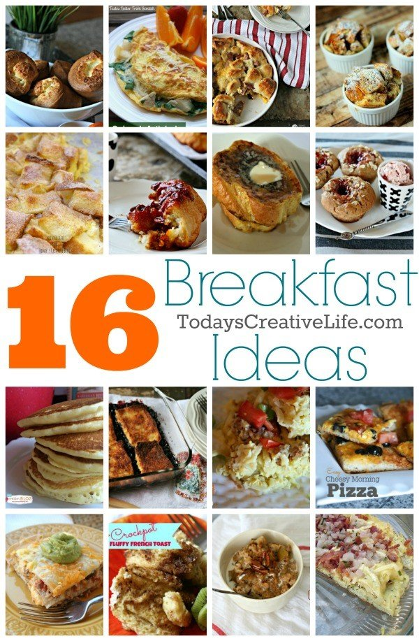 Breakfast Foods - 16 Breakfast recipes for brunch ideas or just a family weekend breakfast! French Toast, Breakfast Casseroles, Popovers, Frittata's and more! See the full list on TodaysCreativeLife.com