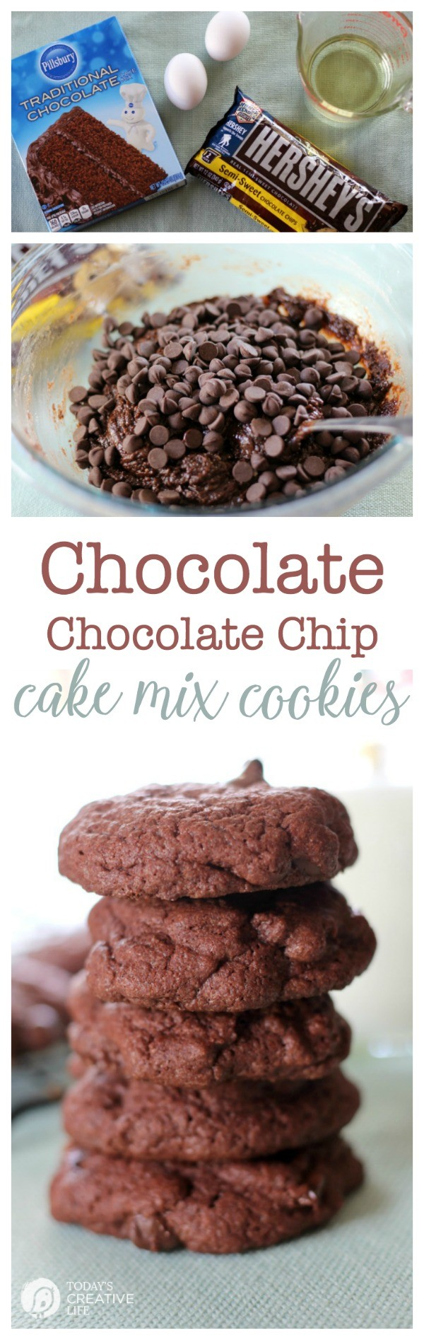 titled photo collage (and shown): Double Chocolate Cake Mix Cookies