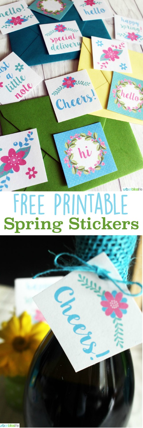 Spring Sticker Printables | Designed by UrbanBlissLife for TodaysCreativeLife.com - Print up your own for easy gifts, envelope messages and more.