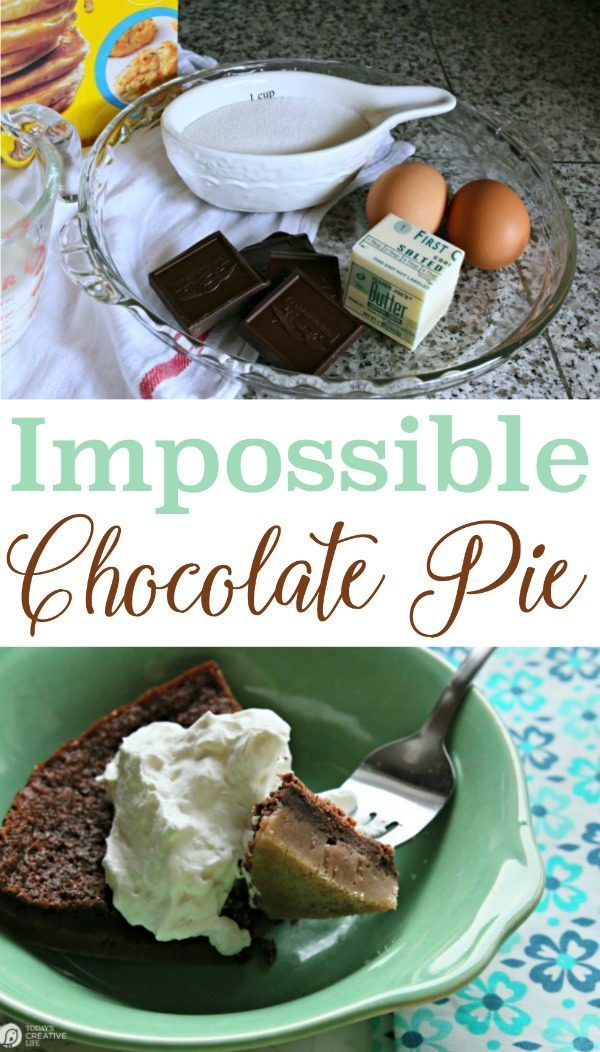 Impossible Chocolate Pie | This chocolate pie really is like a science experiment. The way it naturally layers with a dark chocolate taste makes a decadent dessert. See the recipe by clicking on the photo. TodaysCreativeLife.com