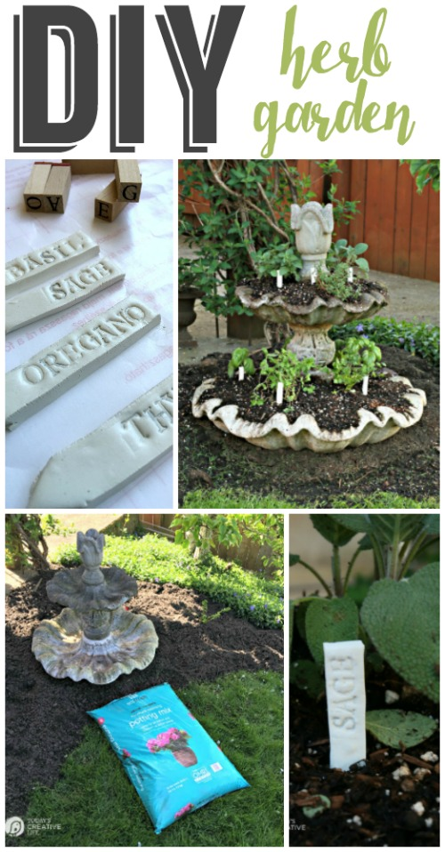 Planting an Herb Garden | Create a unique herb garden using an old fountain and eco scraps potting soil. Make your own DIY garden stakes from polymer clay for an easy craft. Tutorial on TodaysCreativeLife.com