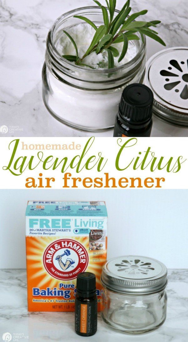 Homemade Air Freshener | Keeping bathrooms fresh and clean with toxic-free air freshener. Fresh smelling home with this DIY baking soda air freshener. See the tutorial on TodaysCreativelife.com