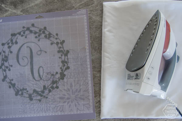 DIY Monogram Pillow |Create diy decor using your Cricut Explore and heat transfer Iron On Flocked Vinyl. Sounds complicated, but it's not. Follow the tutorial on TodaysCreativelife.com