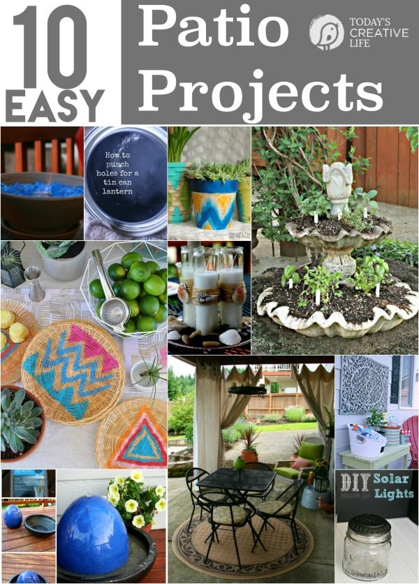 10 DIY Patio Projects you can create in one weekend or even one day! Create the patio of your dreams. Easy Outdoor projects can be found on TodaysCreativeLife.com
