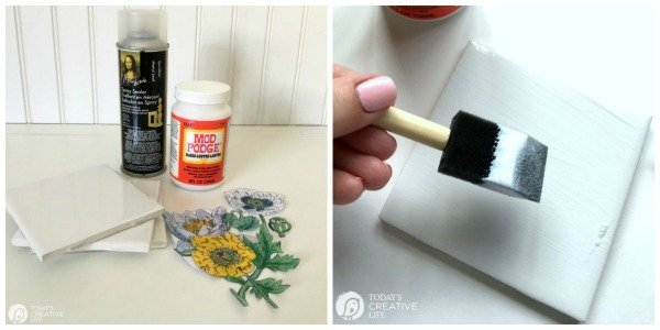 Craft supplies for making decoupaged ceramic coasters