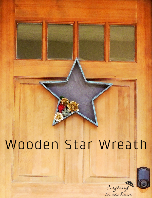 DIY Patriotic Door Decor made with a Wood Star with faux succulents