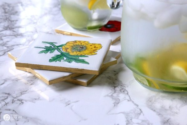 DIY Botanical Coasters | Make your own designer coasters wtih my step by step instructions. See the tutorial on TodaysCreativeLife.com