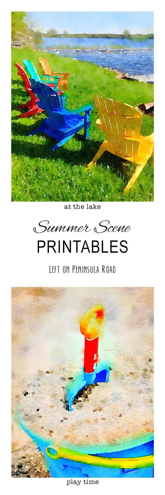 Watercolor Summer Printables | Easy decorating with these watercolor inspired printables by Left on Peninsula Road for TodaysCreativeLife.com
