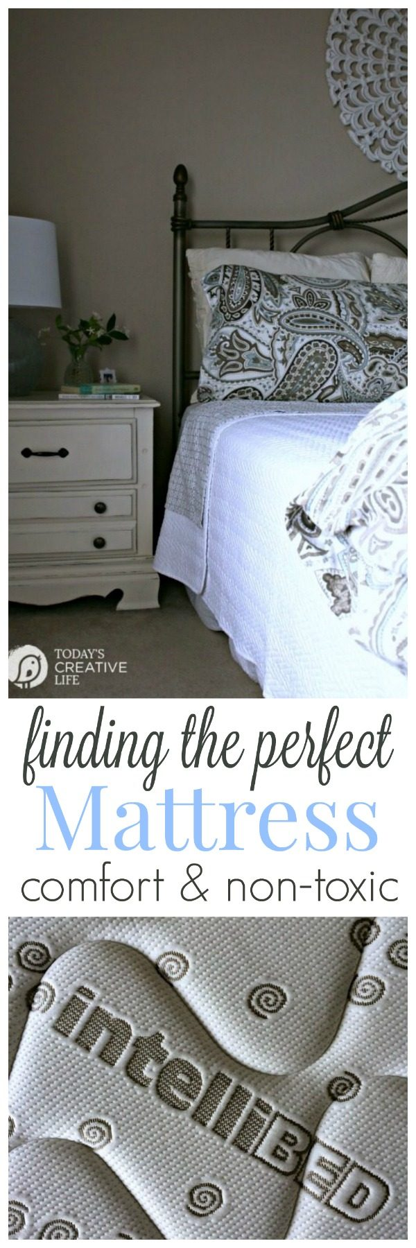 The BEST Mattress | intelliBED is non-toxic with a 30 year warranty. The best mattress you'll ever buy! It's the most comfortable mattress I've ever slept on. See Today's Creative Life for more info.