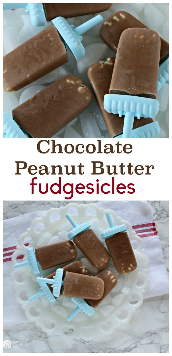 Chocolate Peanut Butter Fudgesicles | Make popsicles easily with TruMoo! Add peanut butter powder for the perfect blend! See the recipe on Today's Creative Life