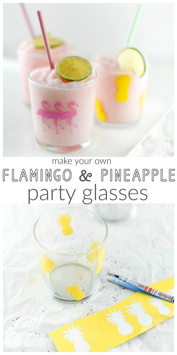 DIY Party Drinking Glasses - Flamingo & Pineapple | Create custom designs with your Cricut Explore, like these Flamingo and Pineapple party glasses. Quick and easy home and party ideas. See more on TodaysCreativeLife.com