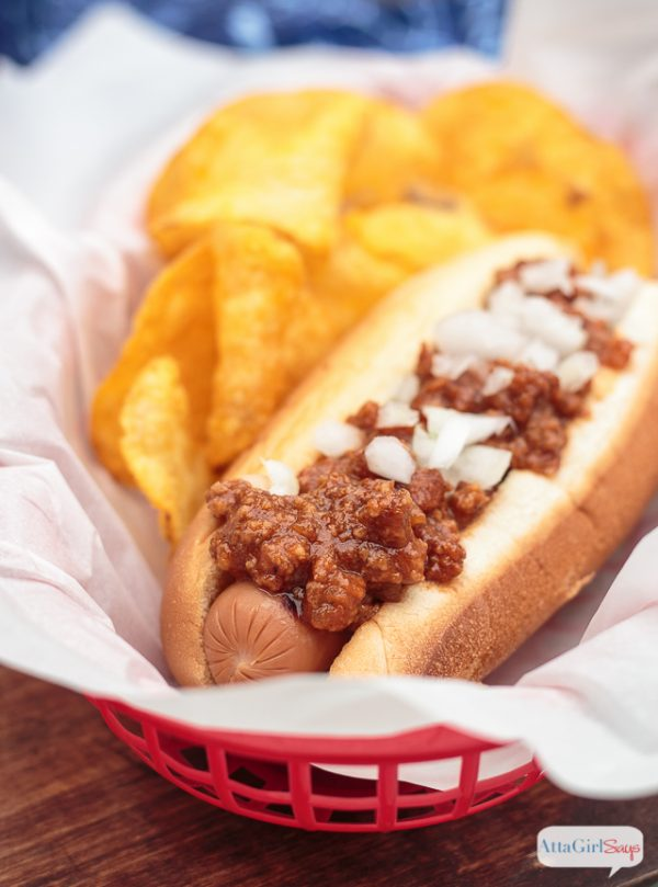 Homemade Hot Dog Chili | You'll never go back to canned chili again! Some call this Hot Dog Sauce! Atta Girl Says for TodaysCreativeLife.com
