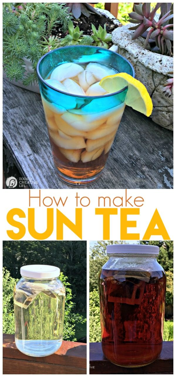photo collage showing how to make sun tea