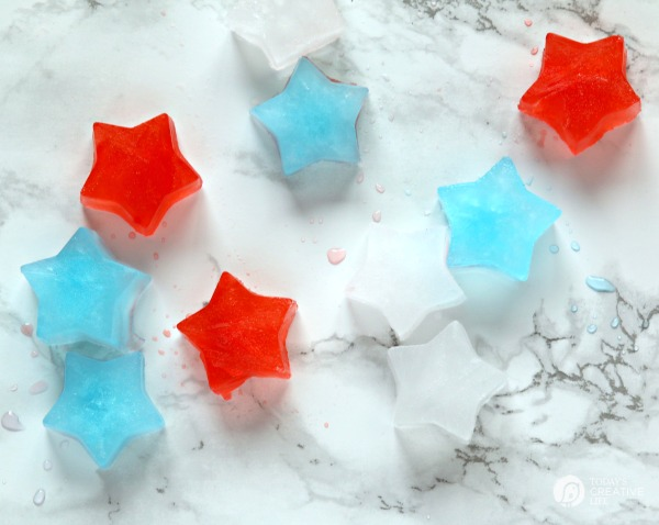 Patriotic Star Shaped Ice Cubes