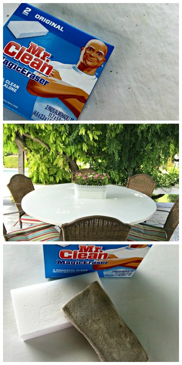 Cleaning your Outdoor Table | Mr. Clean got a Makeover | Clean up the patio with Mr. Clean Magic Erasers. No fancy solutions or cleaners needed.