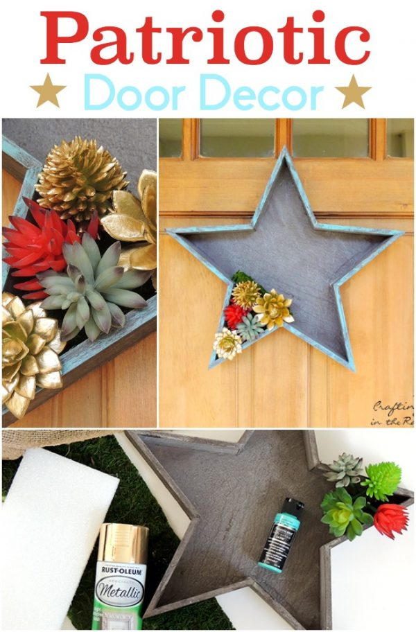 diy Patriotic Door Decor | DIY yourself a fun patriotic decoration for the 4th of July, Memorial Day or Labor day! Crafting in the Rain for TodaysCreativeLife.com