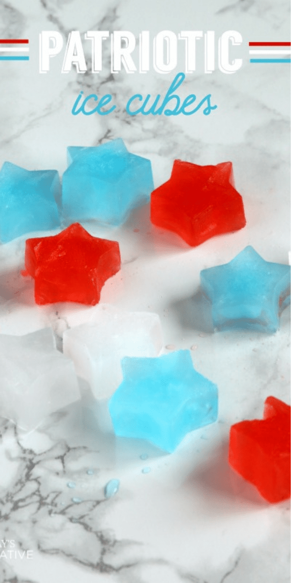 Patriotic star shaped ice cubes in red white and blue.