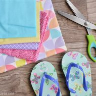 DIY Scrap Fabric Flip Flops | Follow this step by step tutorial to make your own fancy flip flops. This no sew craft is addicting! Our Thrifty Ideas for TodaysCreativeLife.com