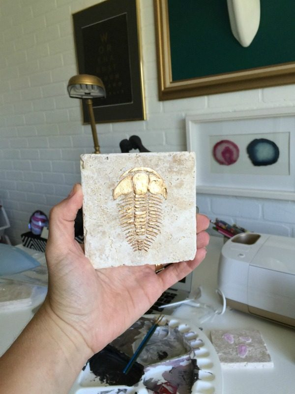 DIY Trilobite Fossils | Make your own Fossils for decorating! This Boy Bedroom idea is the perfect theme for your guy. Who knew that this Cricut Explore craft could create such original DIY ideas! See the step by step tutorial on TodaysCreativeLife.com