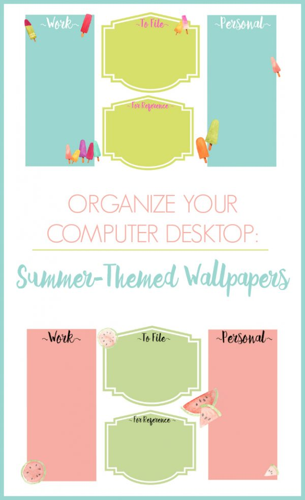 Summer Themed Desktop Wallpapers | Organize your computer desktop with this stylish summer theme designed by Refined Rooms for TodaysCreativeLife.com