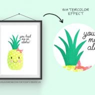 You Had Me at Aloha Summer Printable| Free summer pineapple printable for easy summer decorating. Great for quick BBQ or party decor too. Live Laugh Rowe for TodaysCreativeLife.com