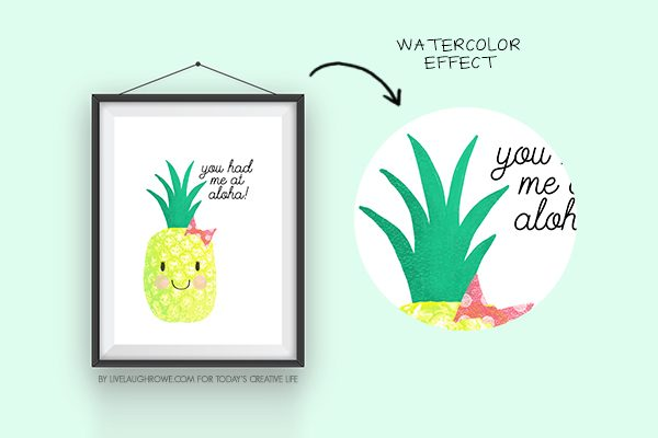 You Had Me at Aloha Summer Printable | Free summer pineapple printable for easy summer decorating. Great for quick BBQ or party decor too. Live Laugh Rowe for TodaysCreativeLife.com