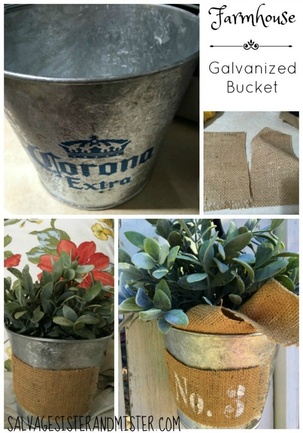 Farmhouse Galvanized Bucket | Get that farmhouse look with thrift store finds. See more on TodaysCreativeLife.com
