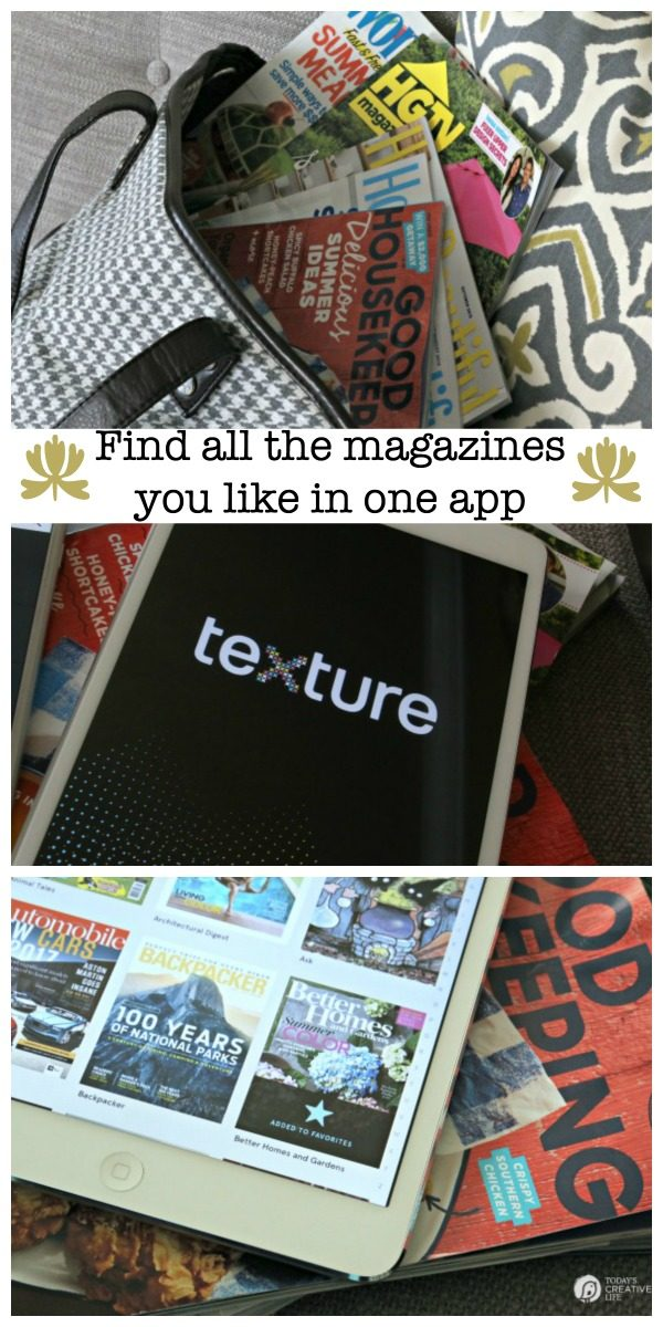 You can read any magazine with one app with the new Texture app. Make travel easier and lighter with all your magazines right on your iPad or tablet! See TodaysCreativeLife for your free trial. #sponsored
