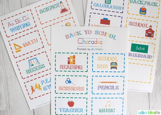 Back to School Charades Free Printable | This free printable for Back to School will get kids excited and focused! Bring in the fun! UrbanBlissLife for Today's Creative Life