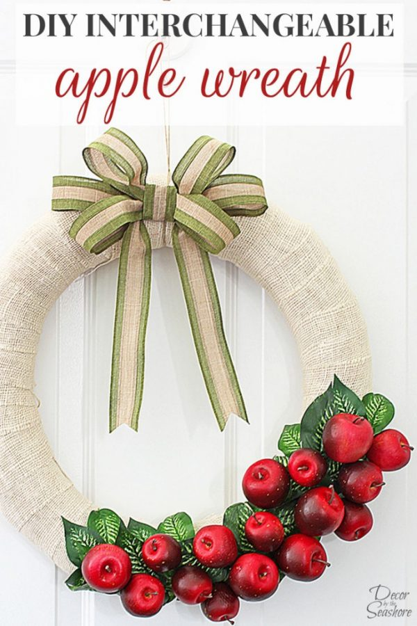 DIY Interchangeable Apple Wreath | Swap out the design each season for a new look. It can be a Fall Wreath, Spring Wreath, Summer Wreath or a Winter Wreath all by changing the apples. See how on Today's Creative Life