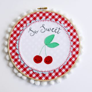 Embroidery Hoop Art Tutorial | So Sweet Retro Cherry Hoop Art by Flamingo Toes for Today's Creative Life. Follow this tutorial and learn how to make your own!
