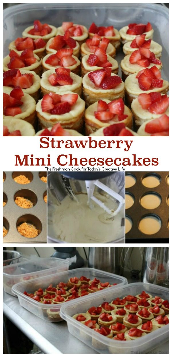 Strawberry Mini Cheesecakes | Find the perfect cheesecake recipe for a crowd. Making mini cheesecakes is easy with this step by step.  Shared by The Freshman Cook for TodaysCreativeLife.com