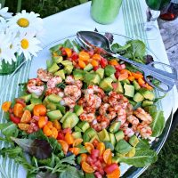 Shrimp Avocado Salad with Cilantro Avocado Dressing