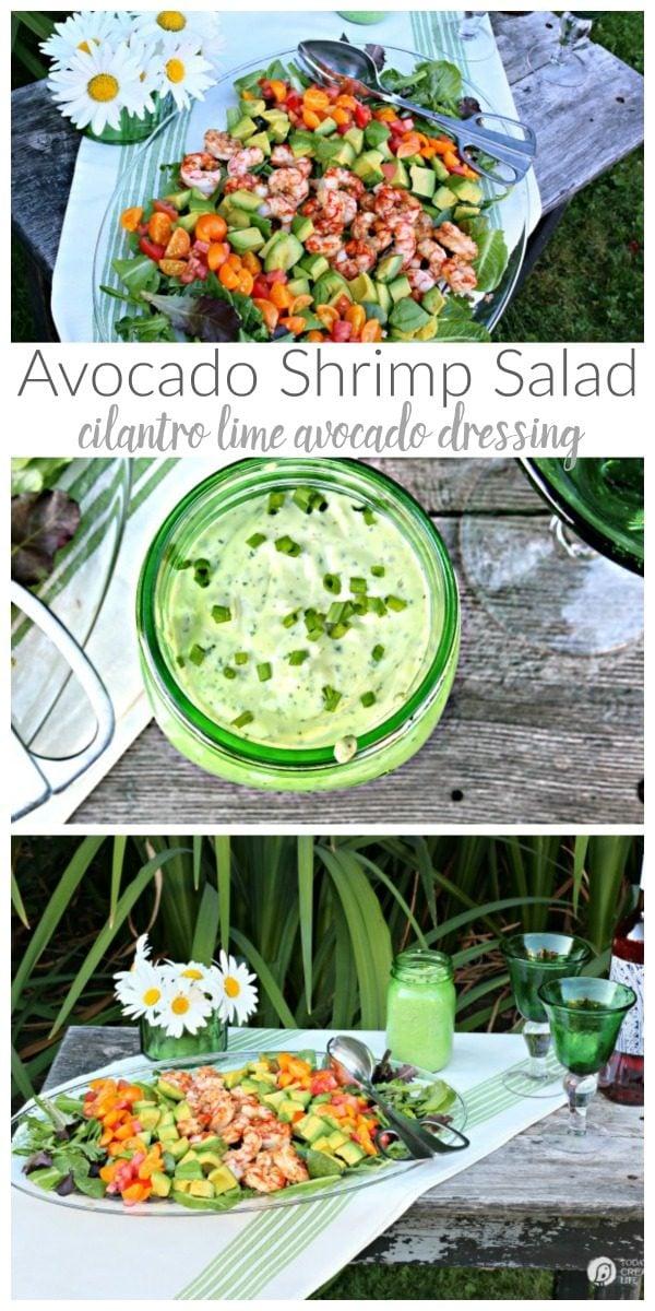 Shrimp Avocado Salad with Cilantro Avocado Dressing photo collage.