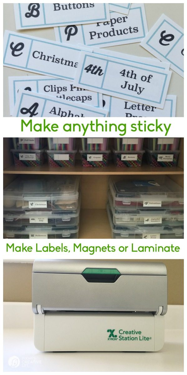 Craft Room Declutter | Keep your craft supplies and craft room organized with this method. Free printable labels to help you organize. See more on TodaysCreativeLife.com