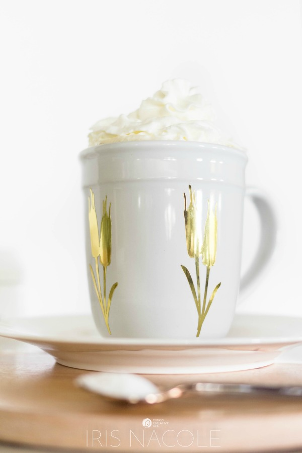 DIY Designer Mug | this cricut explore craft idea is simple and functional. Creative Contributor Iris Nacole shares a step by step tutorial. TodaysCreativeLife.com