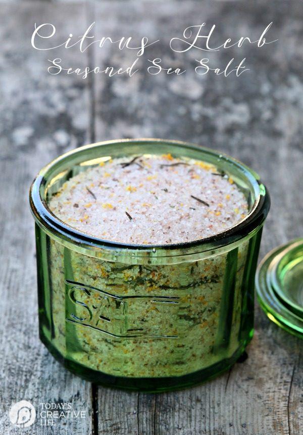 Seasoned Salt Recipe | Make your own Lemon Citrus Herb Sea Salt. Click the photo for the recipe. TodaysCreativeLife.com