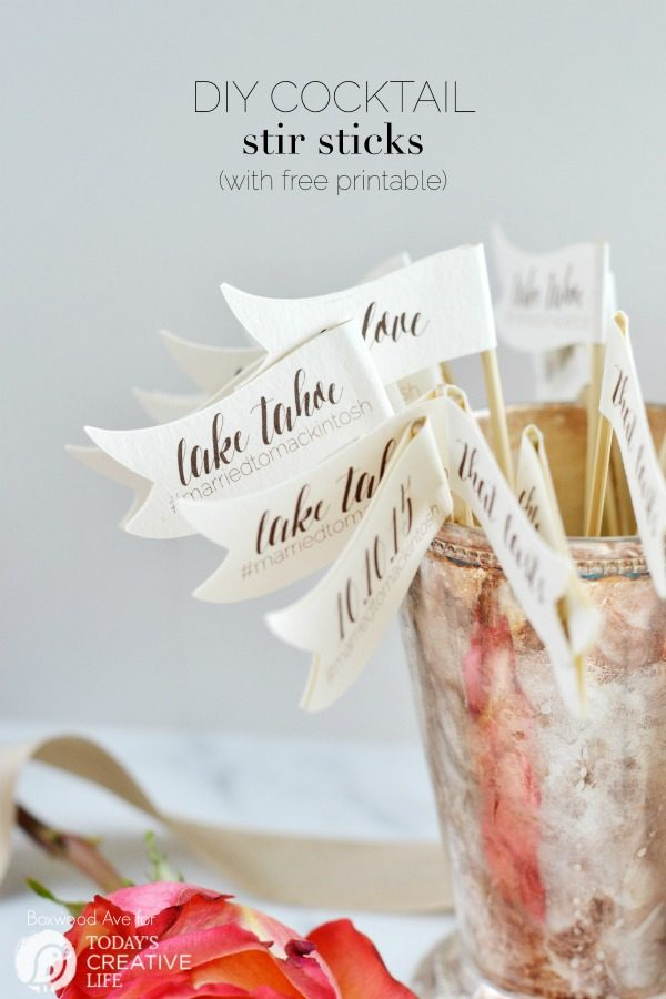 DIY Stir Sticks for your Wedding | DIY Wedding ideas are always a great way to place a more original personal touch on your special day. Get your free download here. TodaysCreativeLife.com