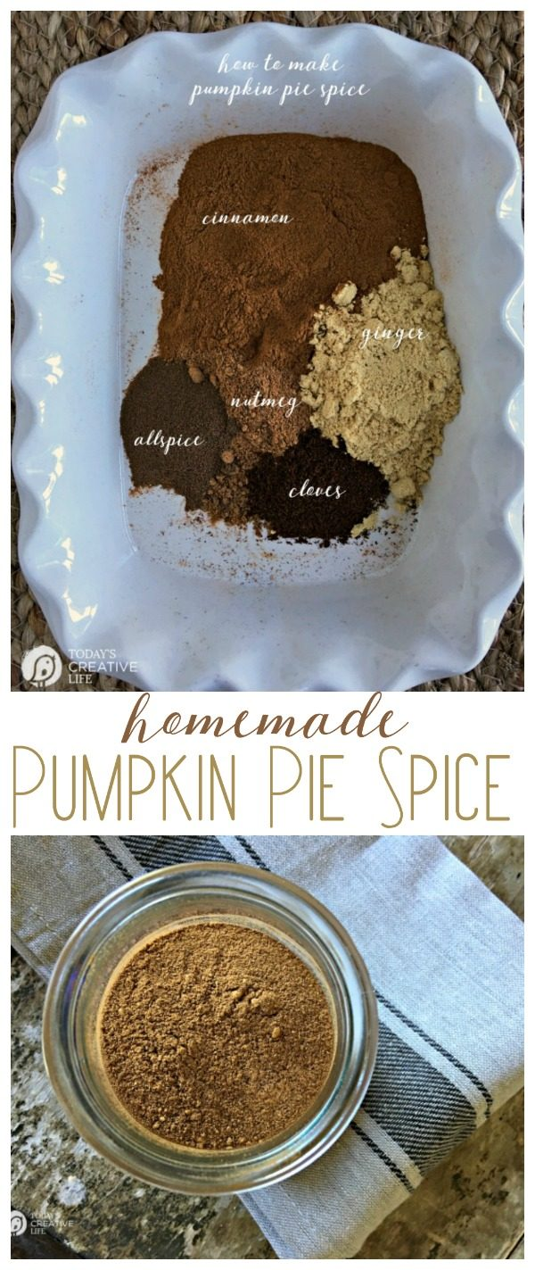 Pumpkin Pie Spice | make your own homemade pumpkin pie spice with this simple recipe. No fillers and all goodness. Click the photo to get the recipe. TodaysCreativeLife.com