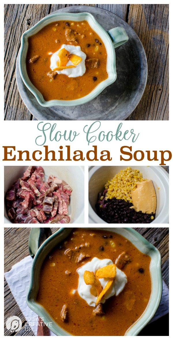 Slow Cooker Enchilada Soup | Crock Pot Soup Recipes are always a hit in my home! Find more slow cooker recipes on Today's Creative Life